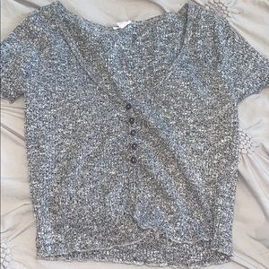 Garage Grey cropped button shirt